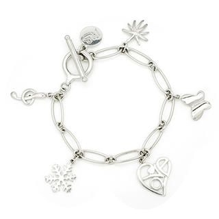 MBLife.com - Platinum Plated Sterling Silver Charm Toggle Bracelet (Music Note, Heart, Butterfly, Snowflake, Palm Tree) 6.5''