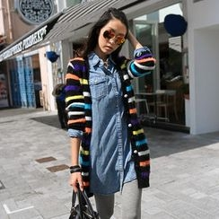 SO Central - Striped Furry Long Cardigan