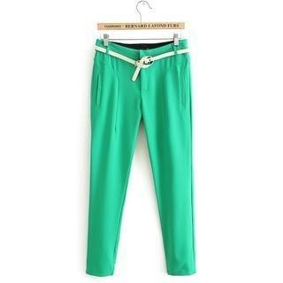 Flower Idea - Slim-Fit Flat-Front Pants