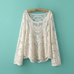 Ainvyi - Embroidered Long-Sleeve Sheer Top