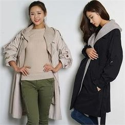 FASHION DIVA - Hooded Double-Breasted Trench Coat