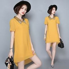Ashlee - Embellished Collar Short-Sleeve Chiffon Dress