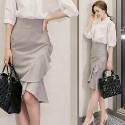 Gl.bY - Ruffled Pencil Skirt