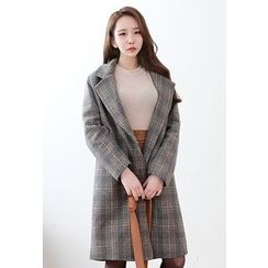 Dalkong - Notched-Lapel Buttoned Plaid Coat