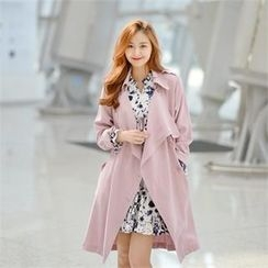 Styleberry - Draped Lapel Trench Coat with Sash
