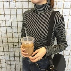Sinbounboun - Striped Turtleneck Long-Sleeve T-Shirt