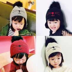 FROME - Cat Embroidered Kids Beanie