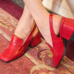 chuu - Square-Toe Block-Heel Slingback Pumps