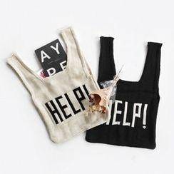 NIPONJJUYA - Lettering Knit Shopper Bag
