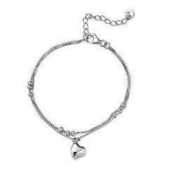 MBLife.com - 925 純銀心形吊飾雙行手鏈 (6.5寸)
