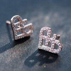 A'ROCH - 925 Sterling Silver Rhinestone Heart Earrings / Necklace