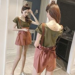 Arroba - 套裝:短袖T恤 + 短款背帶牛仔褲
