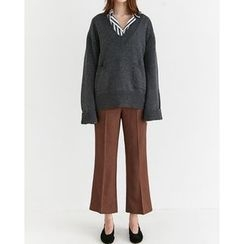 Someday, if - V-Neck Dual-Pocket Wool Blend Knit Top