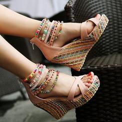 TULASI - Embellished Ankle Strap Wedge Sandals