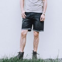 YIDESIMPLE - Roll-Up Washed Denim Shorts
