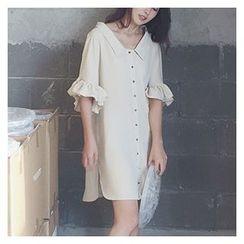 MATO - Ruffle Trim Elbow Sleeve Shirt Dress