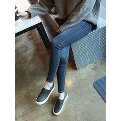 hellopeco - Brushed Fleece Washed Skinny Jeans