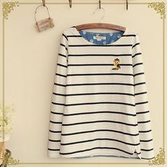 Fairyland - Owl Embroidered Striped T-Shirt