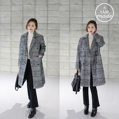 STYLEBYYAM - Wool Blend Double-Breasted Glen Check Coat