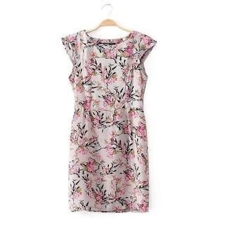JVL - Cap-Sleeve Floral Sheath Dress