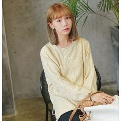 Eva Fashion - Plain Cable Knit Sweater