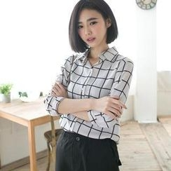 CatWorld - 3/4-Sleeve Check Chiffon Shirt