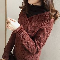 Little V - Mock Two Piece Cable Knit Sweater