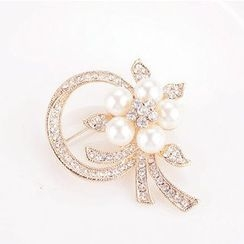 Best Jewellery - Faux-Pearl Rhinestone Brooch