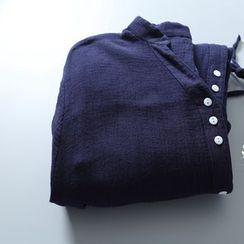 Rosadame - 開襟腰結帶襯衫裙