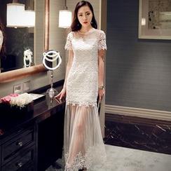 Sherbo - Short-Sleeve Paneled Maxi Party Dress