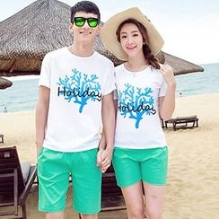 Tabula Rasa - Couple Matching Printed T-shirt + Shorts