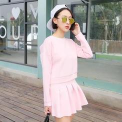 SUYISODA - Set: Contrast Trim Pullover + Pleat Skirt