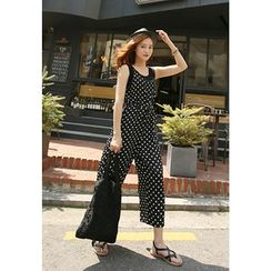 REDOPIN - Sleeveless Polka Dot Jumpsuit
