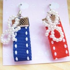 Fit-to-Kill - Hand made Red and Blue cottons with ribbons earrings