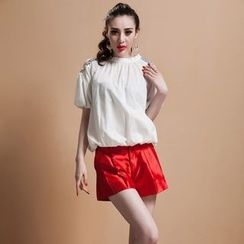 Ozipan - Short-Sleeve Cutout-Shoulder Jeweled Top
