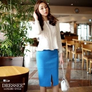 DRESSEE - Slit-Front Color-Block Pencil Skirt