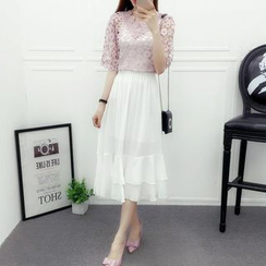 Hazie - Set: Lace V-Neck Top + Tiered Midi Skirt
