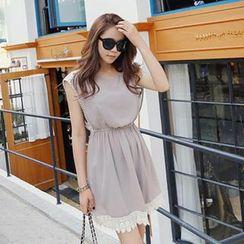 REDOPIN - Chiffon Sleeveless Lace-Trim Dress