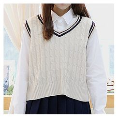 Sechuna - V-Neck Cable-Knit Vest