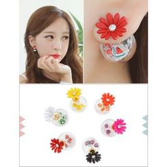 soo n soo - Glass Ball Fruit Flower Earrings