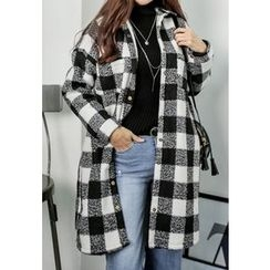 REDOPIN - Gingham Faux-Fur Coat