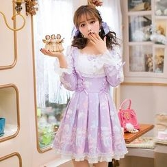 Candy Rain - Unicorn Print Bow Accent Long Sleeve Dress