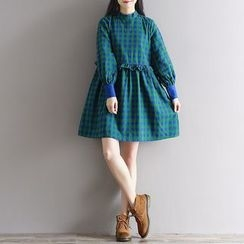 Clover Dream - Frill Trim Plaid Long Sleeve Dress