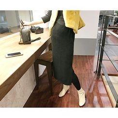 MARSHMALLOW - Round-Neck Maxi Dress with Sash