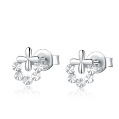 MaBelle - 14K White Gold Cross and Dots with Cutting Stud Earrings