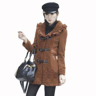 Mooiee - Bouclé-Panel Ruffle Toggle Coat