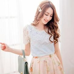 Tokyo Fashion - Short-Sleeve Beaded Lace-Panel Top