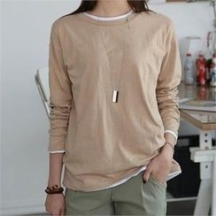 CHICFOX - Round-Neck Cotton T-Shirt