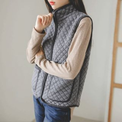 JUSTONE - Stand-Collar Zip-Up Quilted Vest