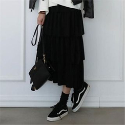 CHICFOX - Band-Waist Layered Skirt